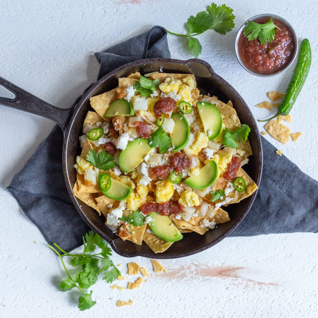 Bacon & Egg Scramble Bowl Breakfast Nachos