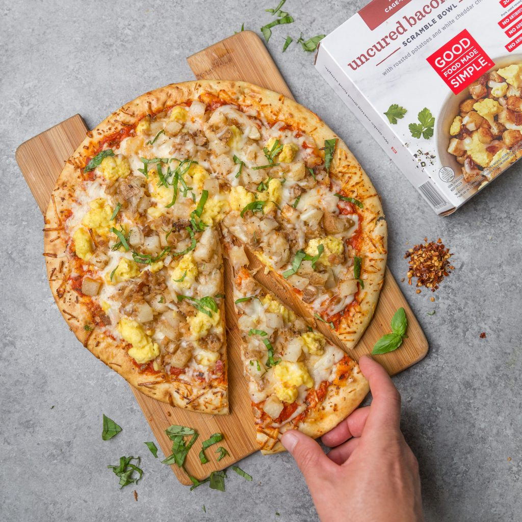 Uncured Bacon & Egg Scramble Bowl Breakfast Pizza