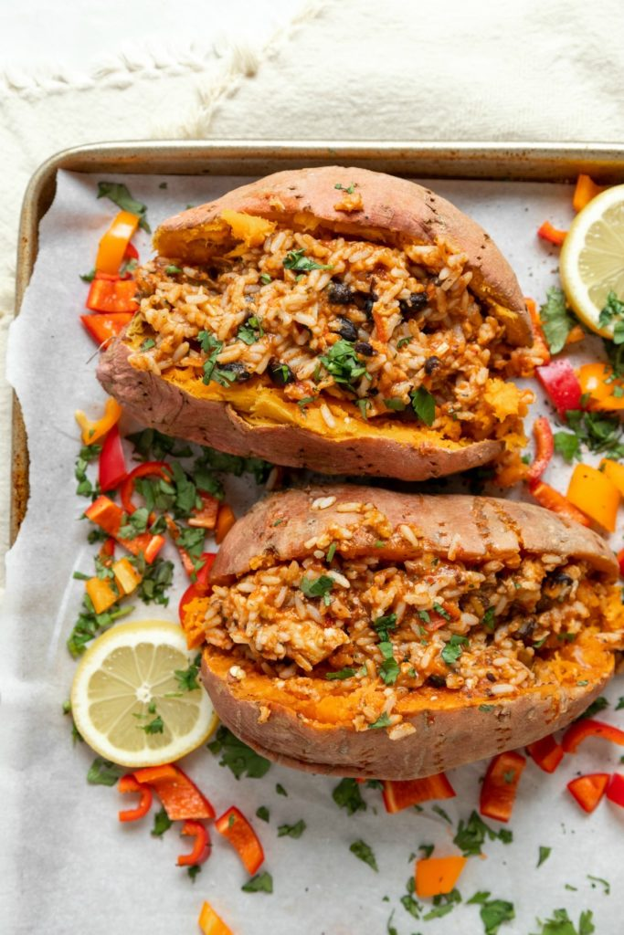 Chicken Black Bean Stuffed Sweet Potatoes